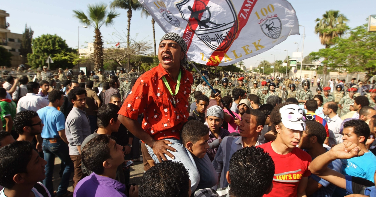 Egyptian protesters shout slogans during a demonstartion against the interim military leadership outside the defence ministry in Cairo on Apr. 29 2012.</p>
