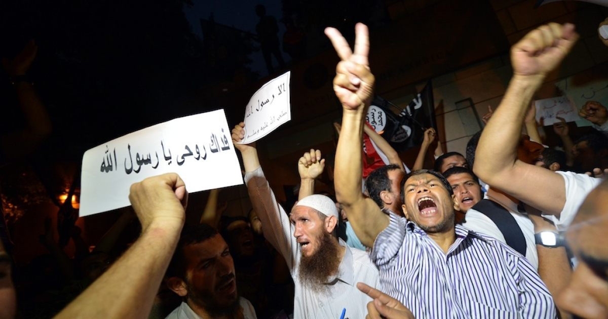 Egyptians protest at the American Embassy in Cairo on Sept. 11, 2012 against a film deemed offensive to Islam that may have been supported by Coptic Christians abroad.</p>