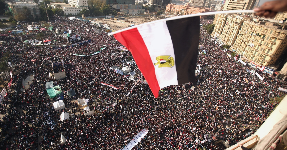 A scene from Egypt's Tahrir square, as Egyptians mark the one-year anniversary of Hosni Mubarak being ousted from power on January 25, 2012 in Cairo, Egypt.</p>
