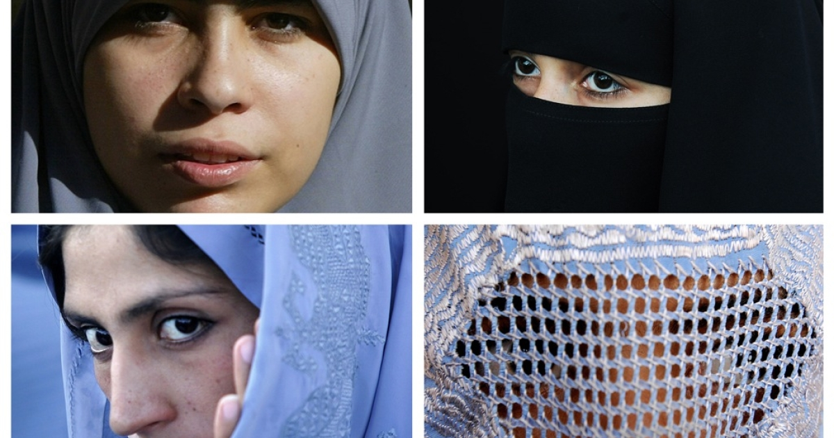 This combination of pictures created from AFP file images on June 19, 2009 shows Muslim women wearing various type of Islamic veils, a Hijab (top L), a Niqab (top R) a Tchador (down L) and a Burqa.</p>