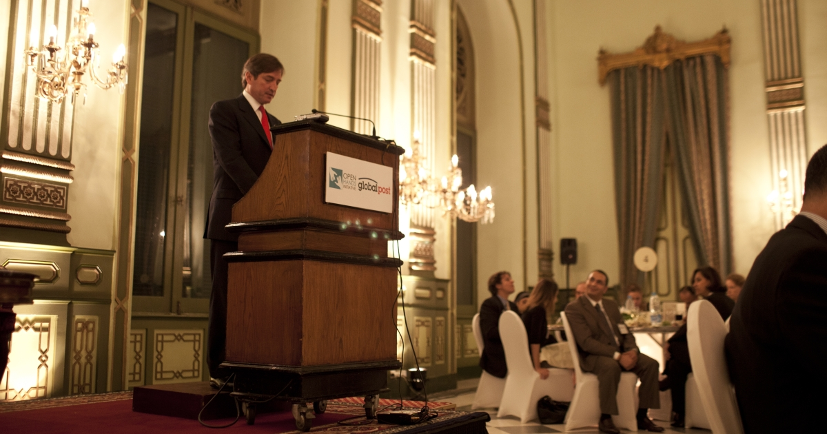 """Open Hands Initiative founder Jay Snyder speaks at a gathering hosted by GlobalPost and the Open Hands Initiative in Cairo titled """"From Tahrir Square to the Ballot Box: Egyptians and Americans Reporting on a New Egypt"""" in October 2011.</p>"""