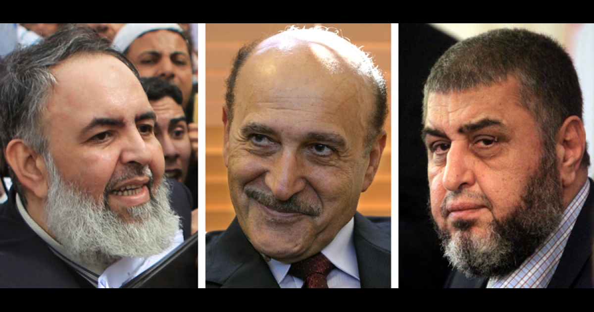 A combo of two recent pictures of Egyptian Salafist presidential candidate Hazem Abu Ismail (L) and Khairat el-Shater (R), the presidential candidate of the country's Muslim Brotherhood, taken in April 2012 in Cairo and a portrait taken in Jerusalem in January 2005 of former Egyptian intelligence chief Omar Suleiman. Egypt's election commission said on April 14, 2012 that the ex-spy chief Suleiman, ultra-conservative Islamist preacher Abu Ismail and the Muslim Brotherhood's Shater were among 10 candidates barred from running for president.</p>