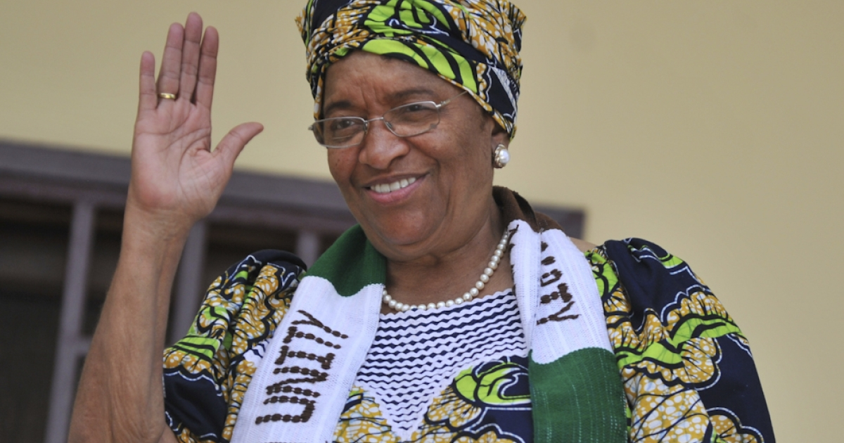 Liberia's President Ellen Johnson Sirleaf, who jointly won the Nobel Peace Prize 2011 today, waves to supporters on October 7, 2011 at her house in Monrovia. Liberia, which holds its second election on October 11 since the end of successive civil wars between 1989 and 2003, has been ruled since 2006 by Sirleaf, Africa's first elected woman president.</p>