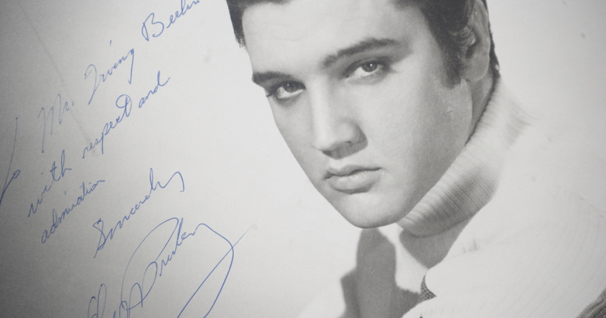 An original photograph of Elvis Presley autographed and inscribed to songwriter and compose Irving Berlin on auction at Gotta Have It! store on March 21, 2012 in New York City.</p>