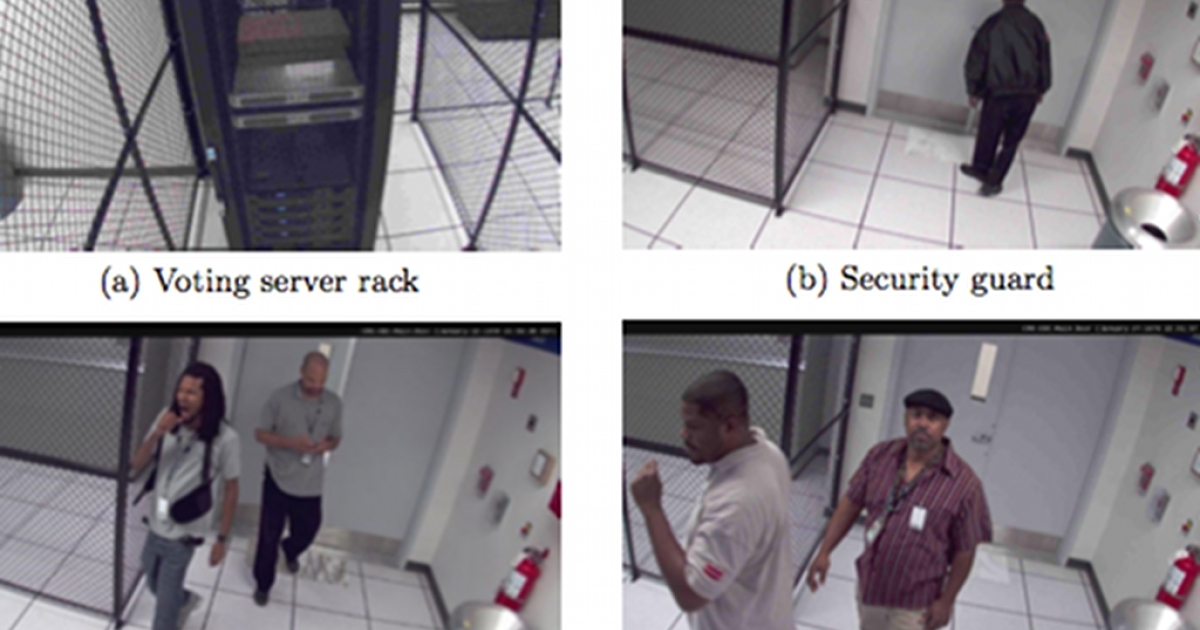 A hacked video feed from surveillance cameras inside the Washington D.C. Board of Elections network operations center. A group comprised of University of Michigan computer scientists hacked the system at the board's invitation to probe its vulnerabilities before a planned election relying on e-mailed ballots.</p>