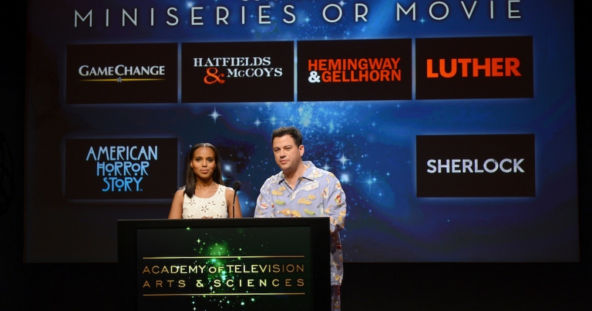 Actress Kerry Washington (L) and TV host Jimmy Kimmel announce the nominees for the Outstanding Miniseries or TV Movie Award during the 64th Primetime Emmy Awards Nominations held at the Television Academy's Leonard H. Goldenson Theatre on July 19, 2012 in Los Angeles, California.</p>