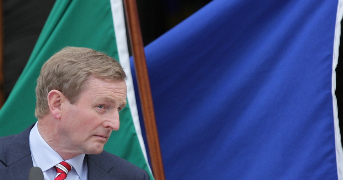 Ireland's Prime Minister Enda Kenny speaks to the media outside the government buildings in Dublin on June 1, 2012.</p>