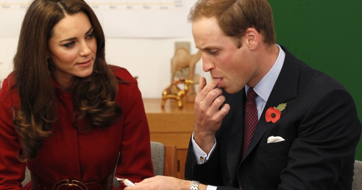 Kate Middleton, Duchess of Cambridge, pictured with husband Prince William first fueled speculation of a possible pregnancy when she refused to eat peanut paste packet from UNICEF during a trip to Denmark.</p>