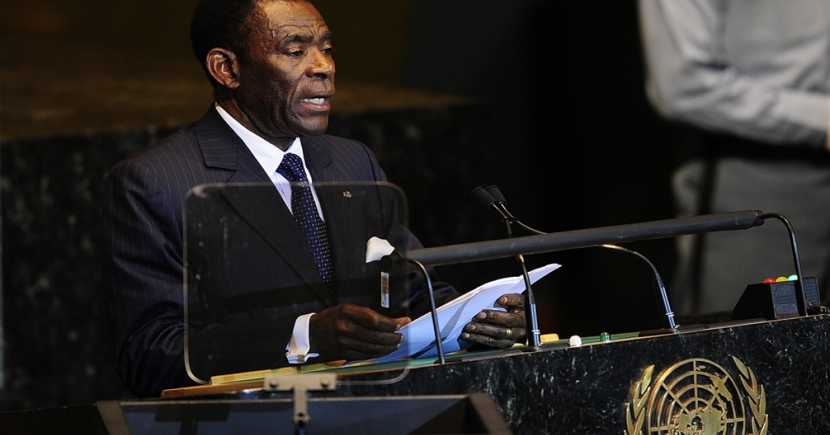 The Equatorial Guinea president, Teodoro Obiang Nguema, addresses the 66th UN General Assembly at the United Nations headquarters in New York on Sept. 21, 2011.</p>