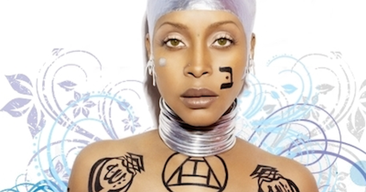 Neo-soul singer Erykah Badu as she appears on her Web site's home page.</p>
