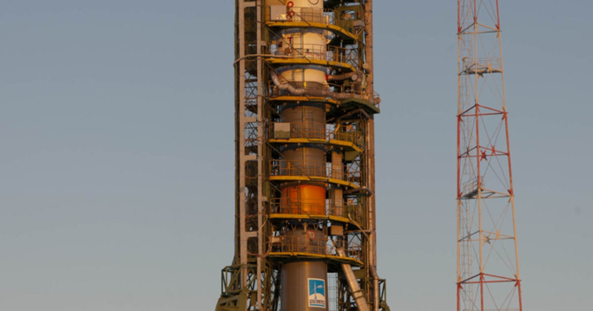The Vega rocket, Europe's latest space rocket, is set to launch for the first time on Monday. In the photo above, final preparations are made to the ESA's Soyuz launcher, ahead of a five month expedition to the International Space Station.</p>