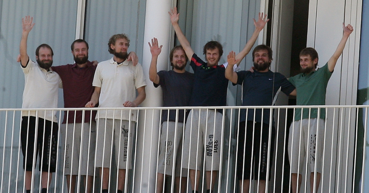 Seven Estonian cyclists who were kidnapped in March make their first public appearance on the balcony of the French embassy in Beirut on July 14, 2011 hours after they were freed in the eastern Bekaa Valley.</p>