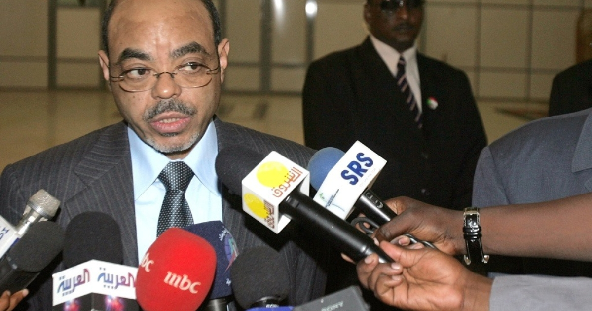 Ethiopian President Meles Zenawi speaks to the press during a stop over in Sudan on his way to the UN General Assembly in New York, at Khartoum International airport on September 19, 2010.</p>