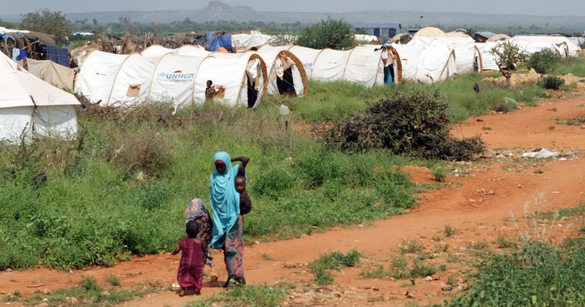 A woman and children walk through the Hilaweyn refugee camp in Dolo Ado, Ethiopia, on December 15, 2011.</p>