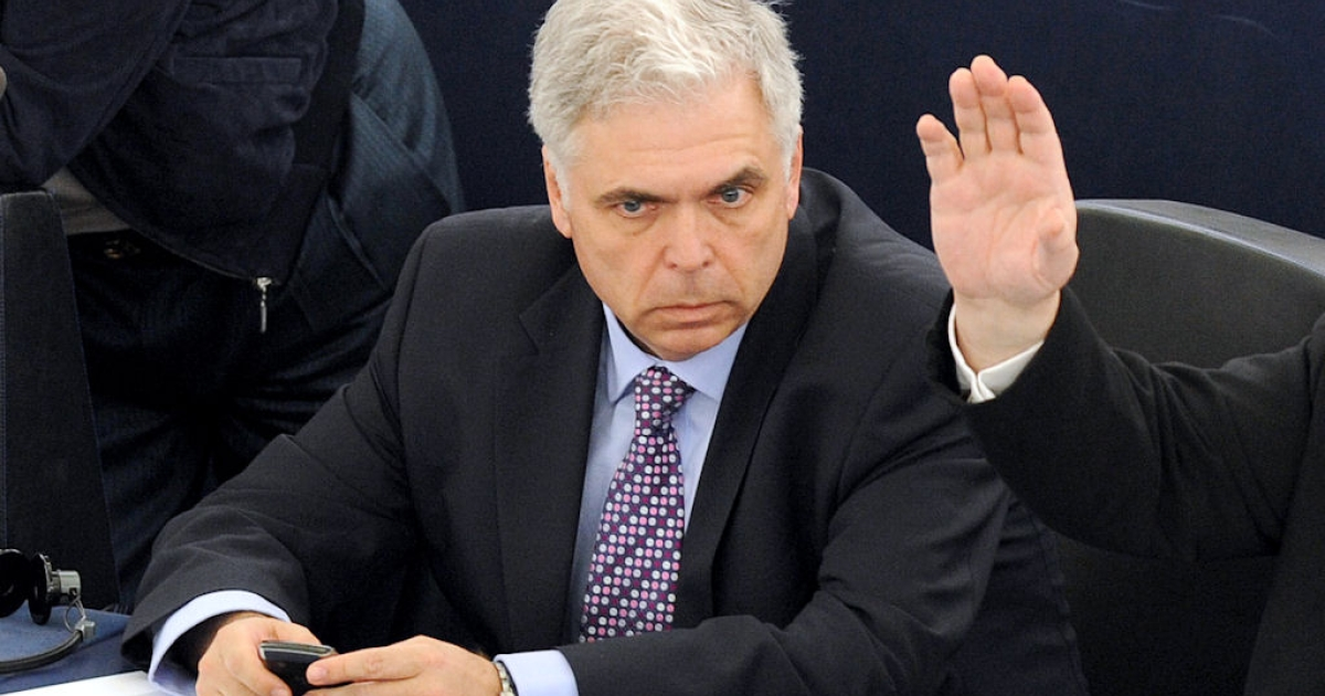 Romanian Member of the European Parliament Adrian Severin takes part at a vote at the European Parliament in Strasbourg, France on April 05, 2011.</p>