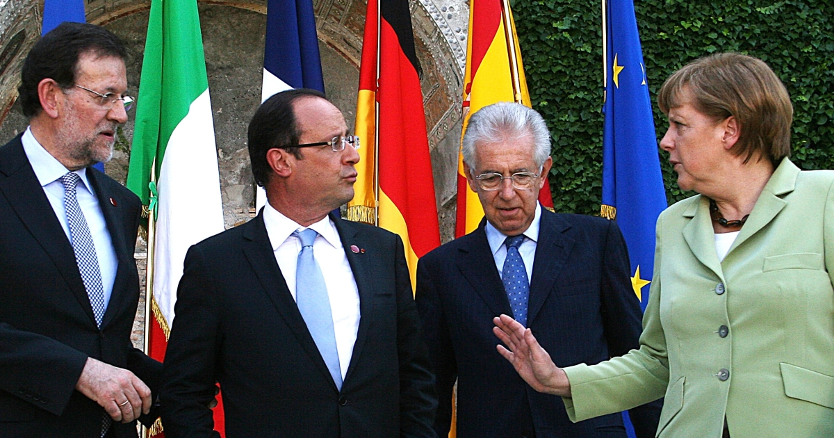 She's in charge: (L to R) Rajoy, Hollande, Monti and Merkel at a euro crisis meeting in June.</p>