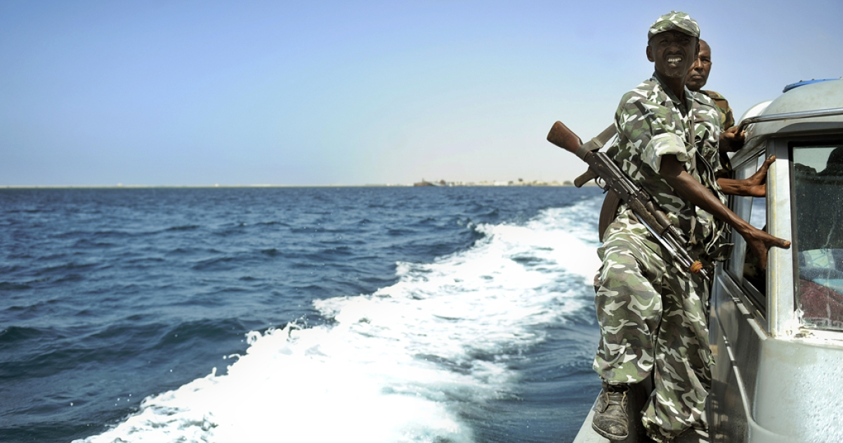 Somali coastguards patrol off the coast of Somalia's breakaway Republic of Somaliland. The EU Naval Forces carried out a dawn raid, hitting attack boats and supplies on Somali pirate bases on the mainland on May 15, 2012.</p>