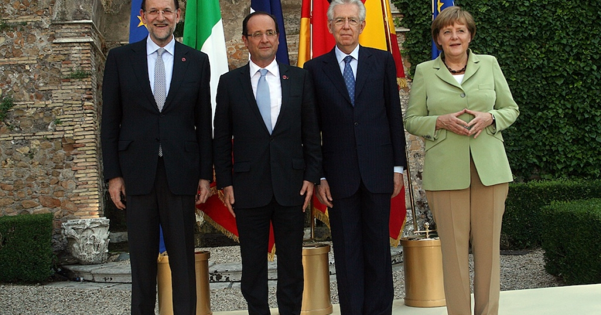 Leaders from Spain, France, Italy and Germany met in Rome today ahead of a European Union summit next week.</p>