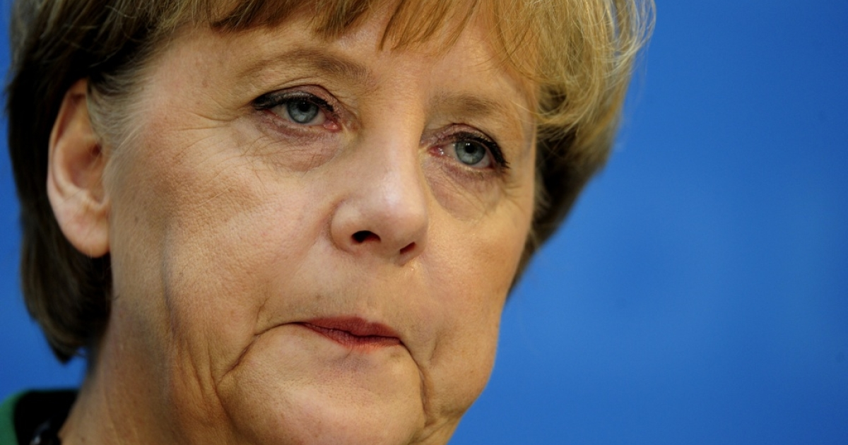 German chancellor Angela Merkel comments on the outcome of regional elections in the northern Schleswig-Holstein state and voting in France and Greece at a press conference on May 7, 2012 in Berlin.</p>