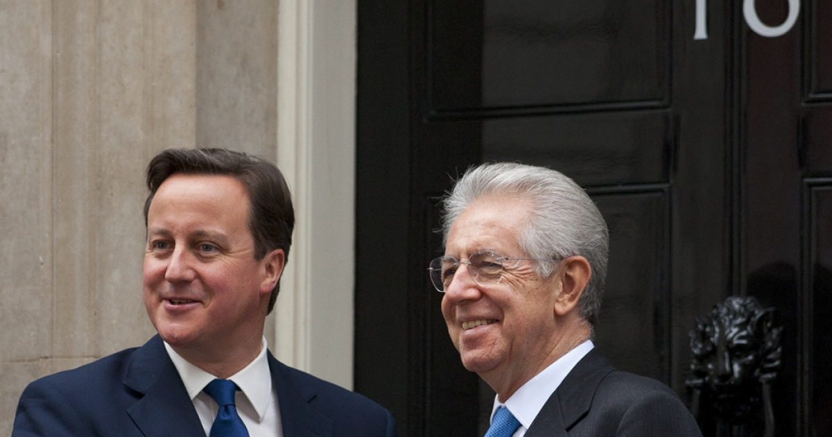British Prime Minister David Cameron and his Italian counterpart Mario Monti at Downing Street today</p>