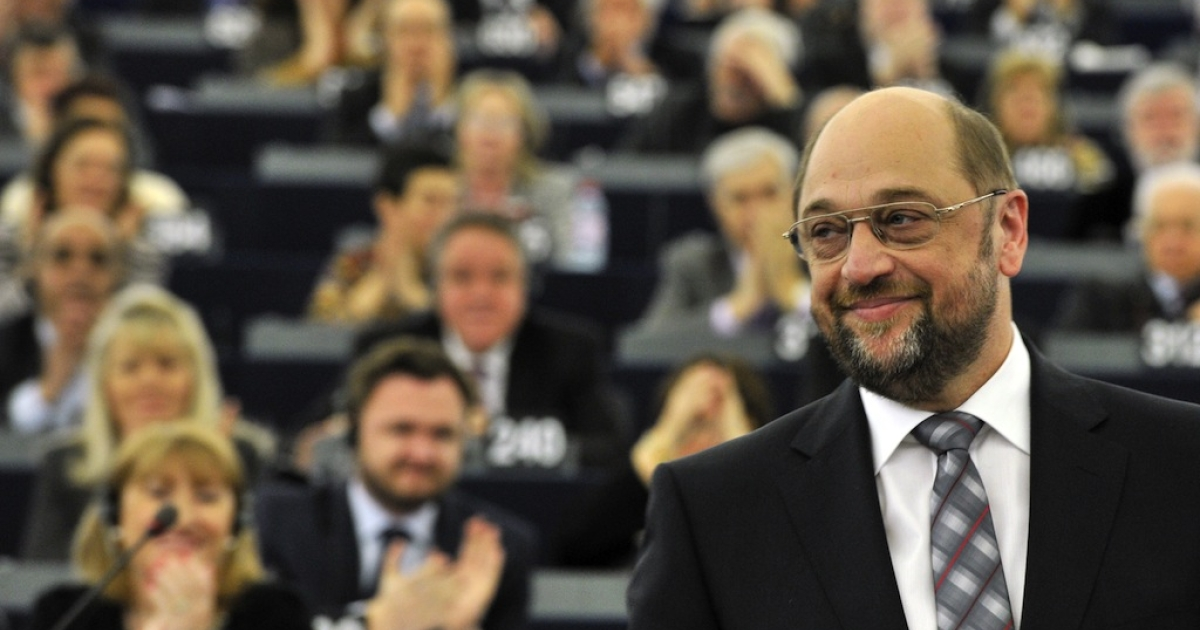 German socialist Martin Schulz is applauded by members of parliament at the European Parliament in Strasbourg on January 17, 2012 after being elected to head the European Parliament.</p>