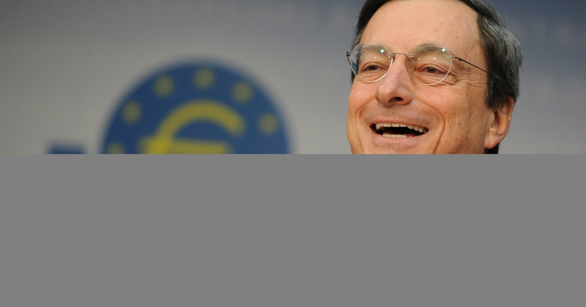 European Central Bank (ECB) president Mario Draghi. The financial stability report released by the ECB may be behind today's strong market close.</p>