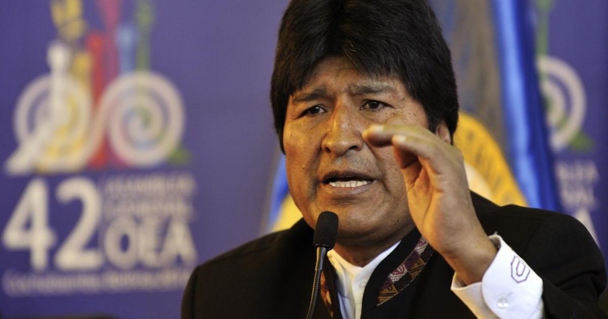 Bolivian President Evo Morales speaks during a press conference at the 42nd OAS General Assembly.</p>