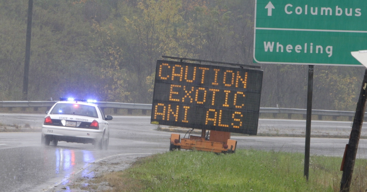 An Ohio State Highway Patrol officer drives past a sign warning of the exotic animals on the loose from a wildlife preserve October 19, 2011 in Zanesville, Ohio.</p>