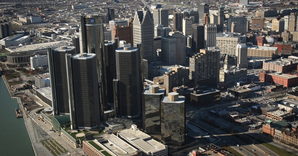 Downtown Detroit. The Midwest, including the Motor City, has seen the largest increase of concentrated poverty, according to a report from the Brookings Institute</p>