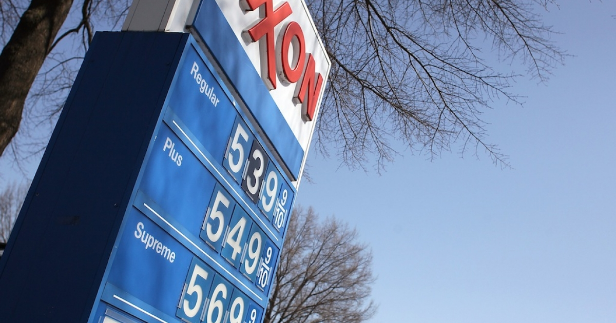 A sign shows gas prices over five dollars a gallon for all three grades at a EXXON service station on March 13, 2012 in Washington, DC According to AAA the average price of gas has climbed three tenths of a cent nationwide as a result of high oil prices and tensions tied to Iran's nuclear program.</p>