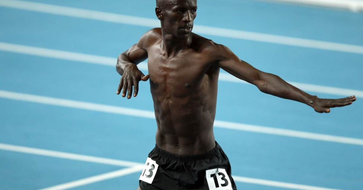 Ezekiel Kemboi celebrates his win at the World Athletics Championships in Daegu, South Korea, in September 2011.</p>