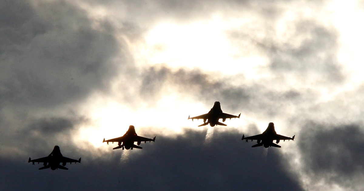 F-16s fly over Darlington, South Carolina. Defense sources have told Reuters on July 10, 2013, that the US government still plans to deliver four of the fighter jets to Egypt despite the political upheaval there.</p>