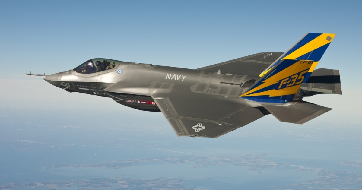 The US Navy variant of the F-35 Joint Strike Fighter, the F-35C, conducts a test flight February 11, 2011 over the Chesapeake Bay.</p>