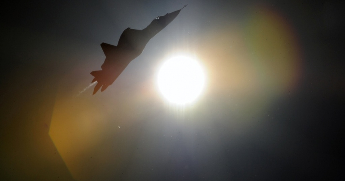 A russian first stealth fighter T-50 performs during MAKS-2011, the International Aviation and Space Show, in Zhukovsky, outside Moscow, on August 17, 2011.</p>