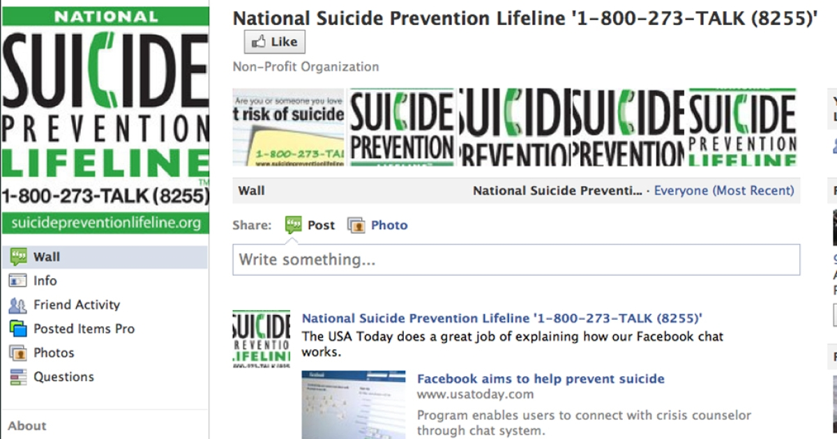 Facebook now enables users contemplating suicide to talk to a crisis counselor on Facebook chat.</p>