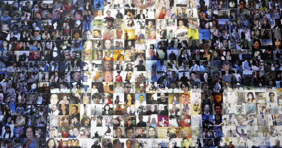 A collage of profile pictures makes up a wall in the break room at the new Facebook Data Center on April 19, 2012 in Forest City, North Carolina.</p>