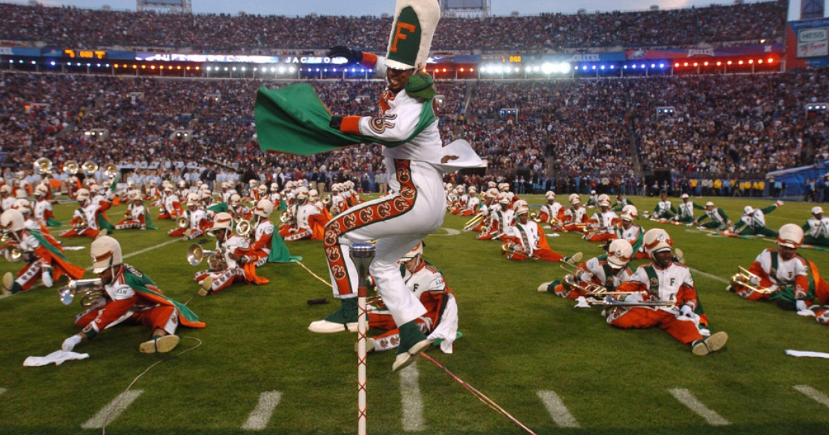 Florida A&amp;M University's marching band performs during the Super Bowl pre-game show on Feb. 6, 2005, in Jacksonville.</p>