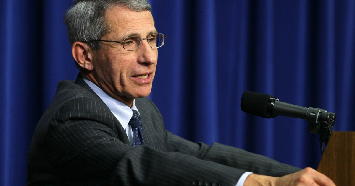National Institute of Allergy and Infectious Diseases (NIAID) Director Anthony Fauci speaks during an event for World AIDS day.</p>