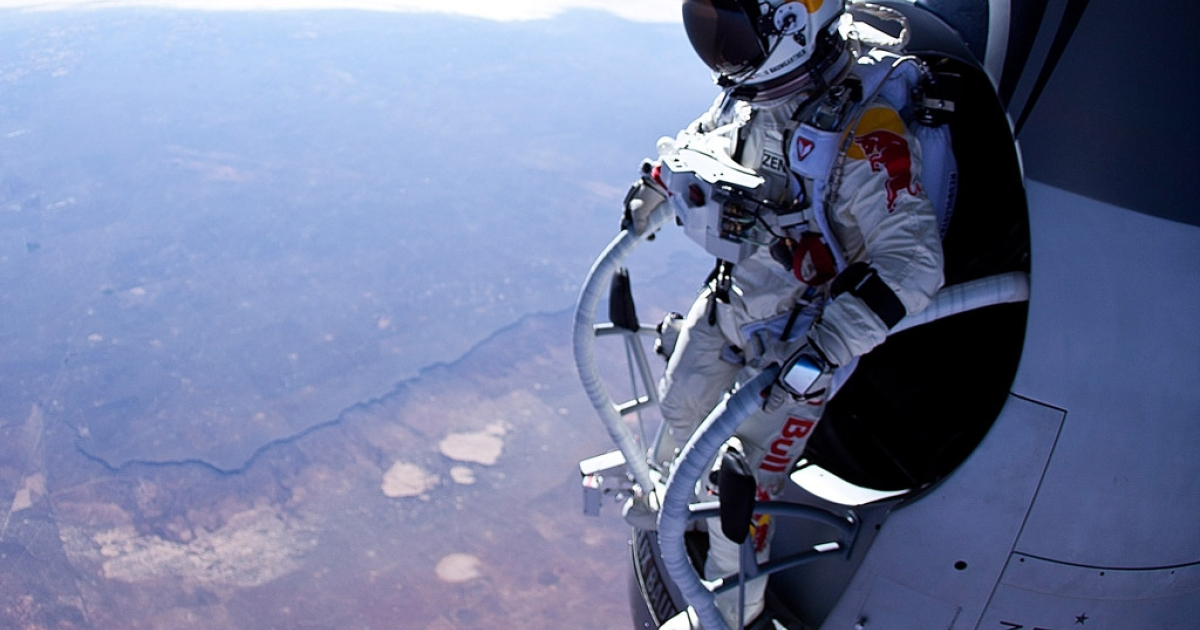 In this photo provided by Red Bull, Felix Baumgartner of Austria is seen before his jump during the first manned test flight for Red Bull Stratos on March 15, 2012, in Roswell, New Mexico. In this test he reach the altitude 71,500 feet and landed safely near Roswell, New Mexico.</p>