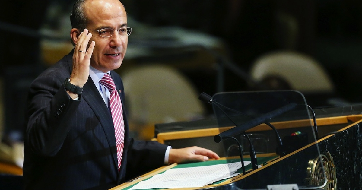 Mexican President Felipe Calderon addresses world leaders at the United Nations General Assembly on September 26, 2012 in New York City. More than 120 prime ministers, presidents and monarchs are gathering this week at the UN for the annual meeting. This year's focus among leaders will be the crisis in Syria, which is beginning to threaten regional stability.</p>