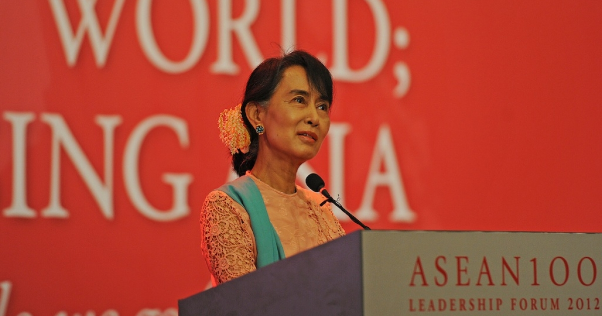 Myanmar democracy leader Aung San Suu Kyi — daughter of Aung San, considered to be the Father of modern-day Burma — talks during the 'ASEAN 100 Leadership Forum 2012' at a hotel in Yangon on December 6, 2012. Suu Kyi was speaking on the topic of ' Resilience in Turbulent Times.'</p>
