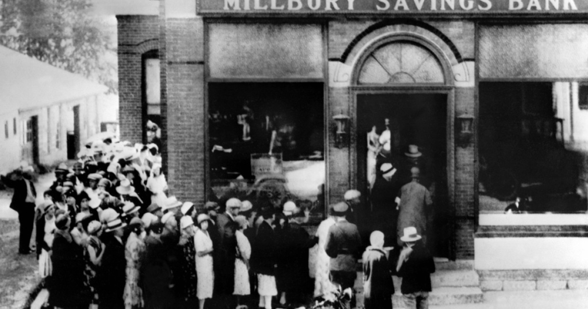 People rush to a saving bank in Massachusetts on Oct. 24th 1929, as Wall Street crashed, sparking a run on banks. TARP and other bailout programs appear to have thwarted a depression during the most recent crisis.</p>