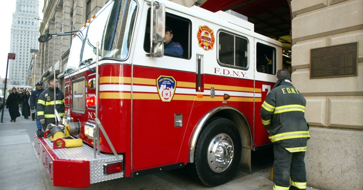 Firefighters from Ladder 1, Engine 7 head out on a call from the firehouse in 2002 in New York City as part of an authorised CBS documentary '9/11' by French filmmakers Gedeon and Jules Naudet.</p>