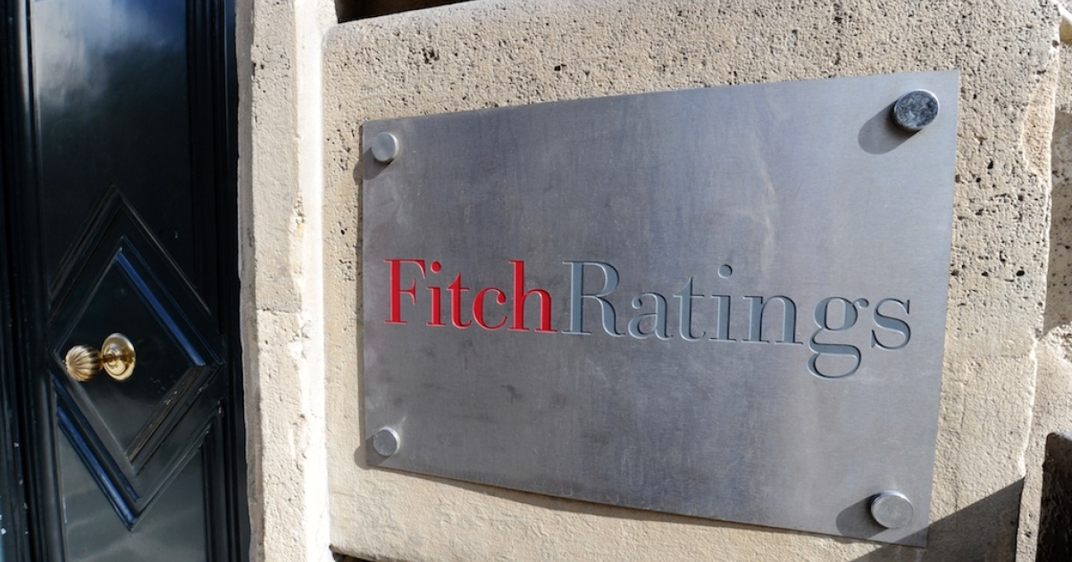 The entrance of Fitch ratings agency in Paris.</p>