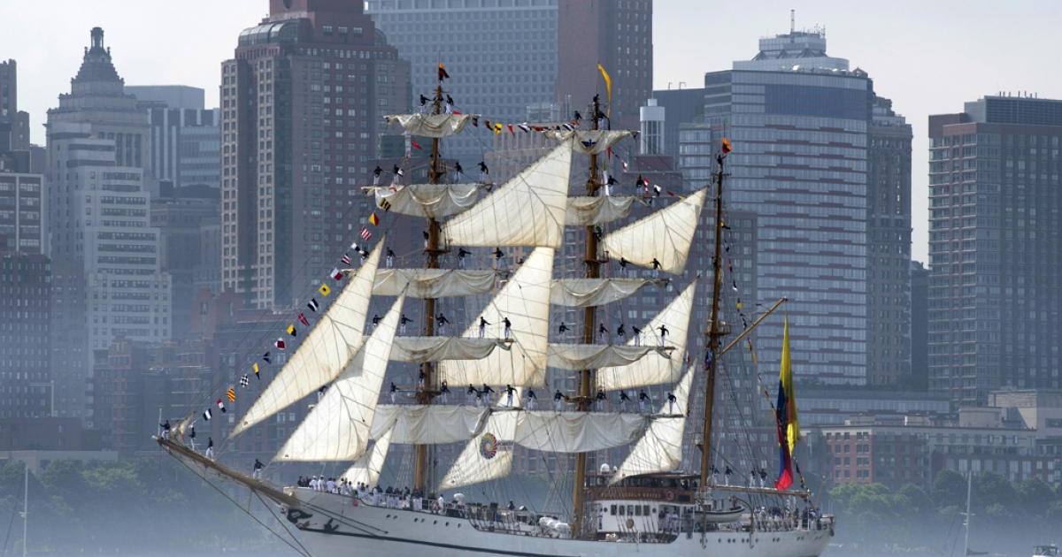The tall ship from Ecuador Guayas passes Manhattan on May 23, 2012 in New York. The tall ship is participating in Fleet Week events in New York.</p>