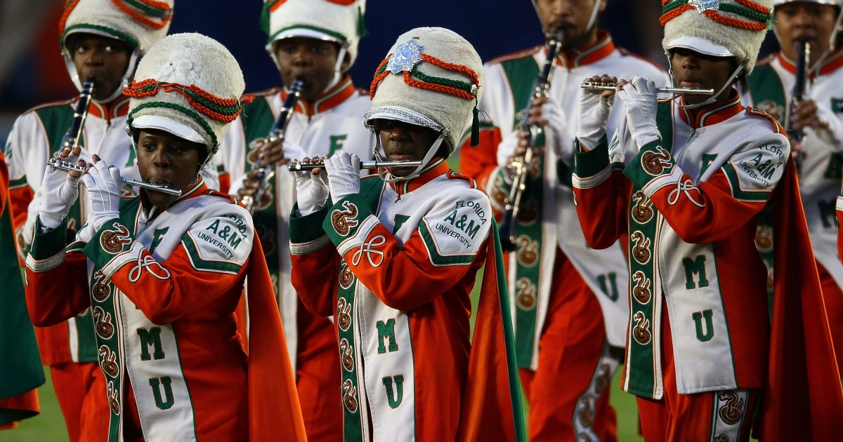 The Florida A&amp;M University marching band performs at Sun Life Stadium in Miami Gardens, Fla., prior to Super Bowl XLIV on Feb. 7, 2010.</p>