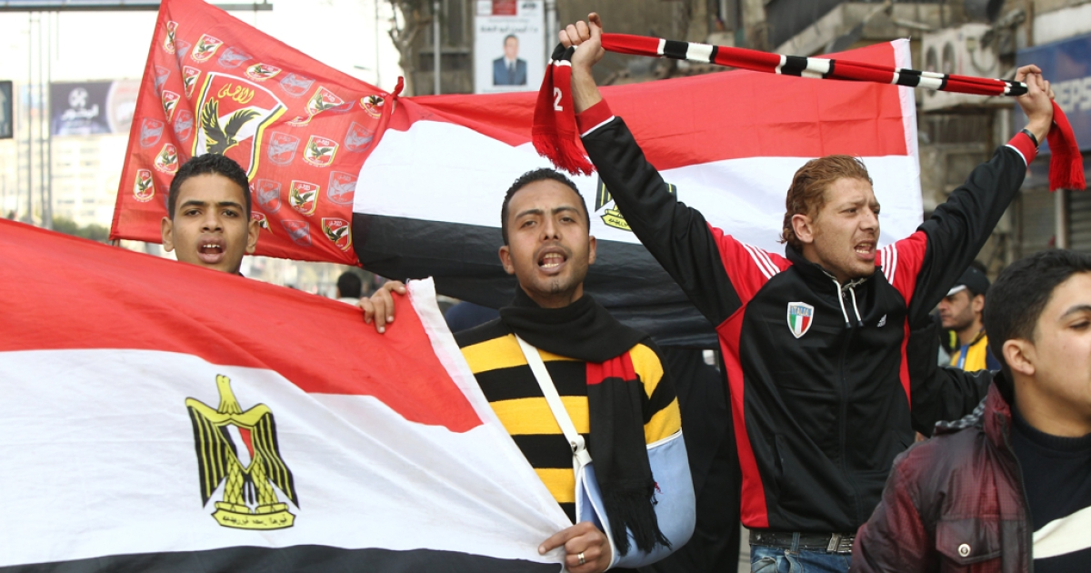 Egyptian fans of Al-Ahly take part in a demonstration in Cairo on Feb. 2, 2012 against the previous day's clashes after a football match.</p>