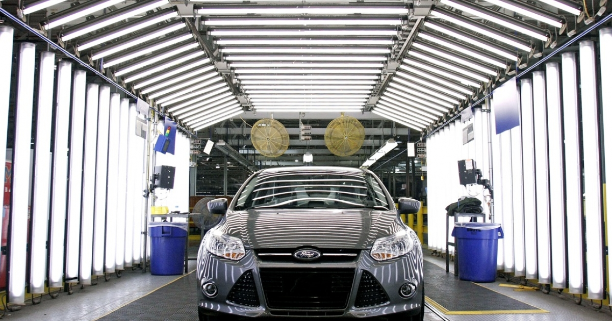 A Ford Focus on the assembly line at Ford Motor Co.'s Michigan Assembly Plant December 14, 2011 in Wayne, Michigan.</p>