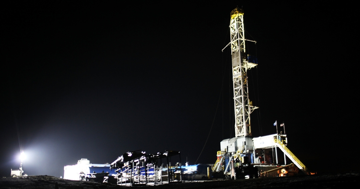 A Cabot Oil and Gas natural gas drill is viewed at a hydraulic fracturing site in Springville, Pa., on January 17, 2012.</p>