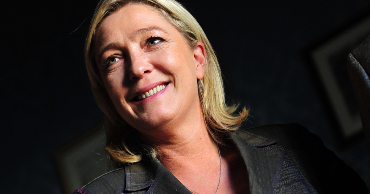 French president of the Front National Far-Right party and candidate to the French 2012 presidential election Marine Le Pen in Rome on Oct. 22, 2011.</p>